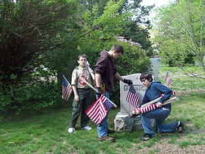 Boy Scouts Placing Flags