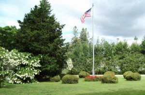 Veterans Flag Pole in summer